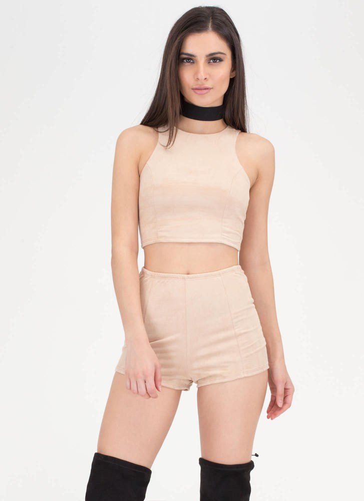 Easy Go Crop Top And Shorts Set CAMEL