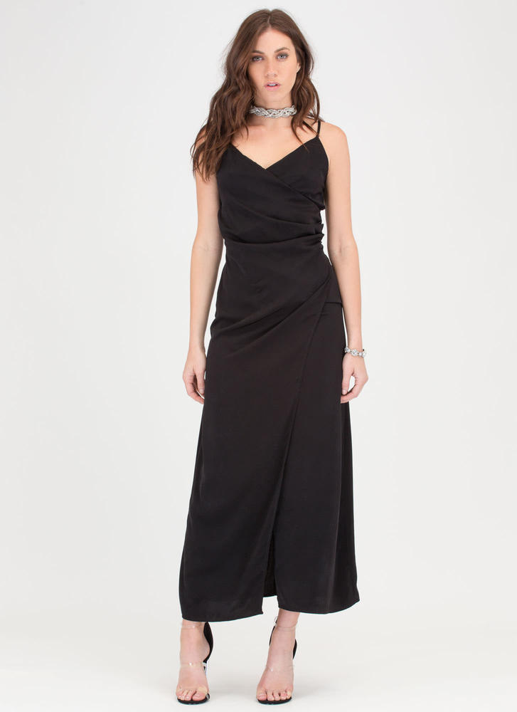 Wrap Game Strong Flowy Maxi Dress BLACK