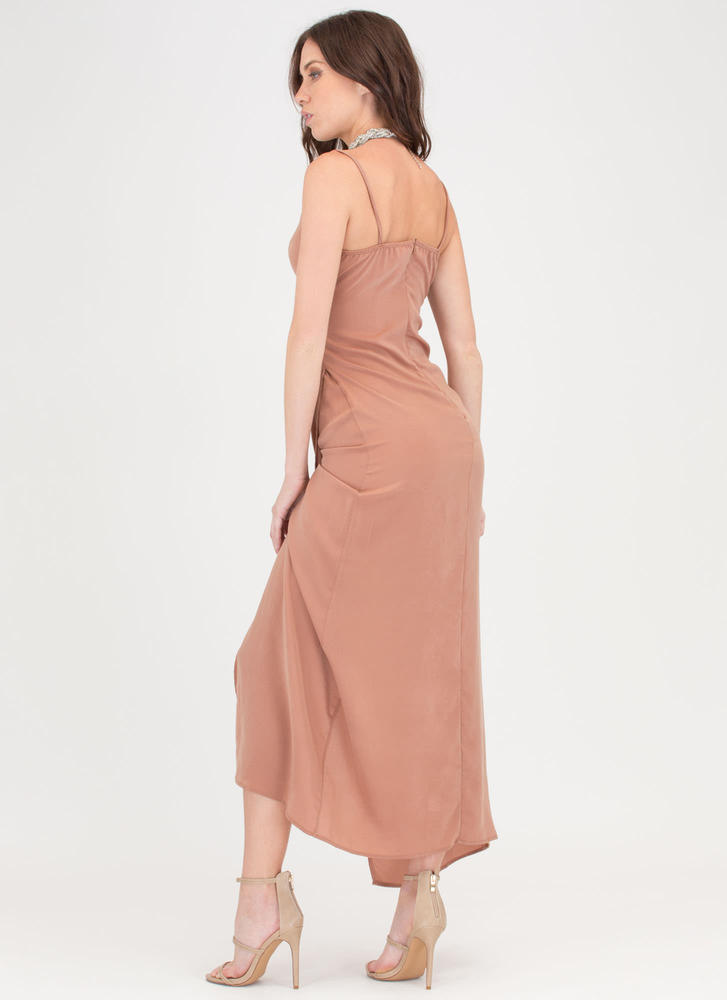 Wrap Game Strong Flowy Maxi Dress TAN