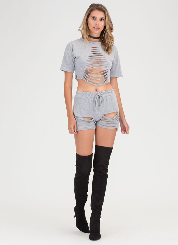 In A Slash Distressed Top And Shorts Set HGREY