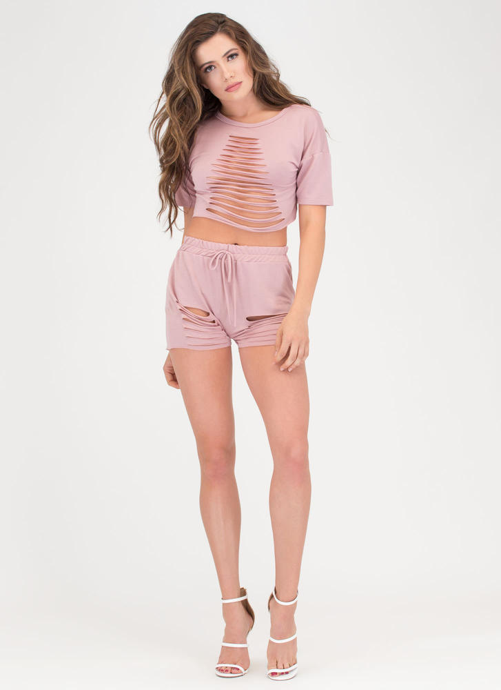 In A Slash Distressed Top And Shorts Set MAUVE
