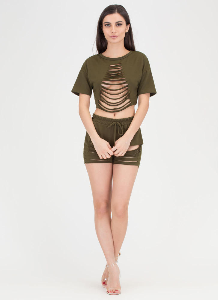 In A Slash Distressed Top And Shorts Set OLIVE