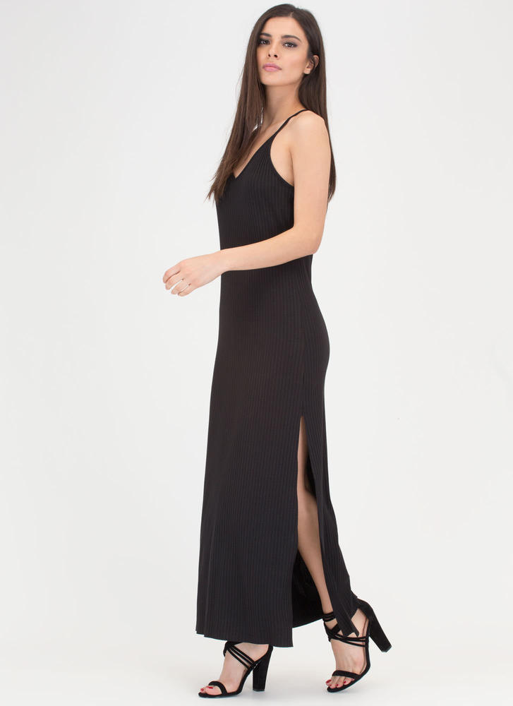 Speed Racer Ribbed Double Slit Maxi BLACK