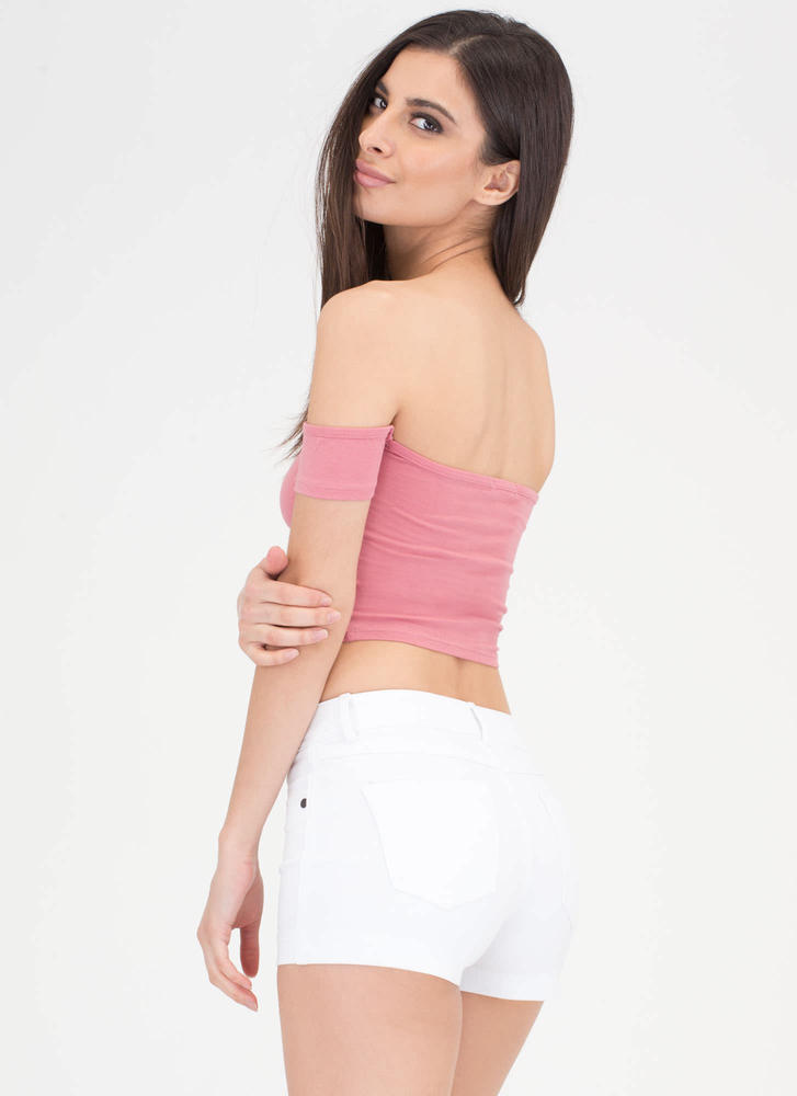 Take It All Off-Shoulder Crop Top MAUVE