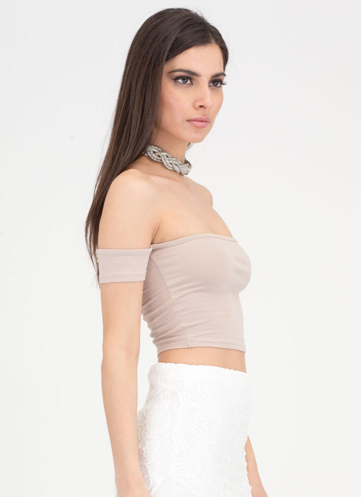 Take It All Off-Shoulder Crop Top TAUPE