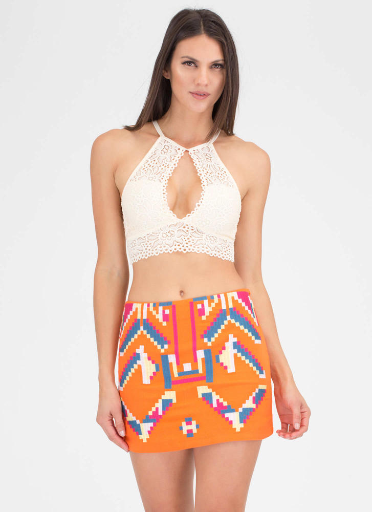 Pixels Embroidered Tribal Tapestry Skirt