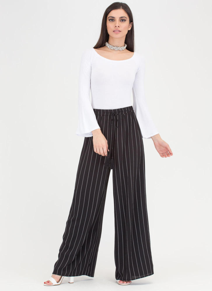 Risky Business Pinstriped Palazzo Pants BLACK