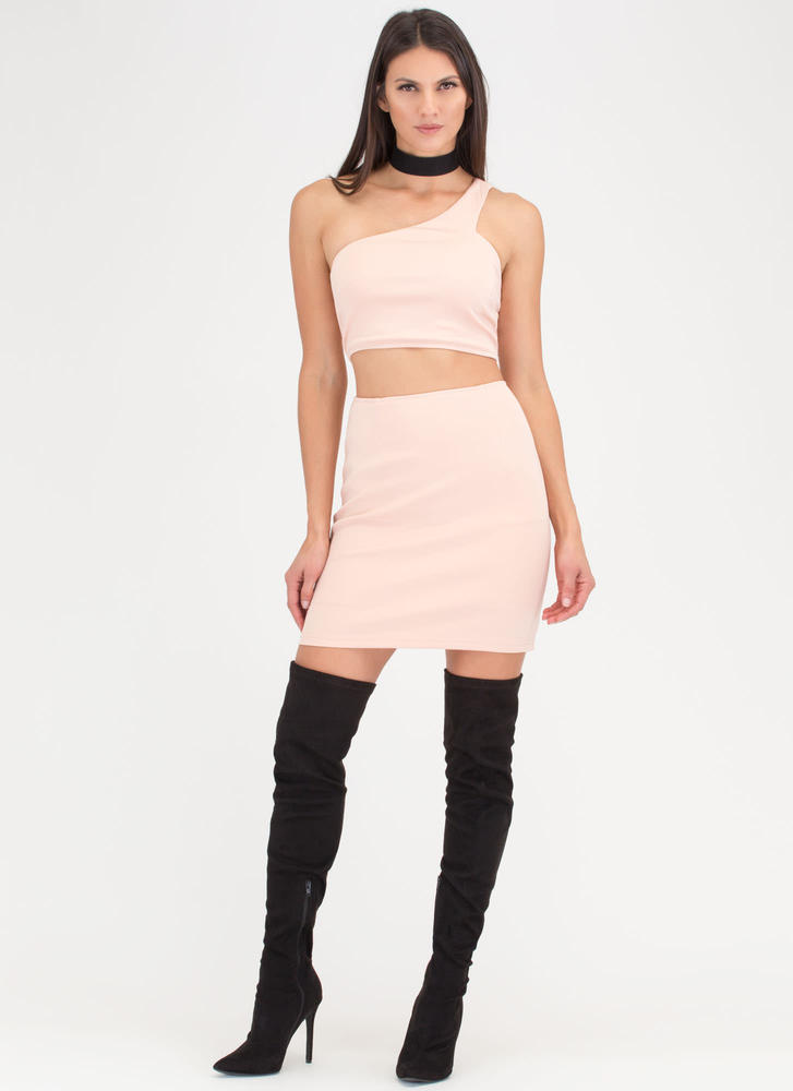 It Only Takes One-Shoulder Cut-Out Dress BLUSH