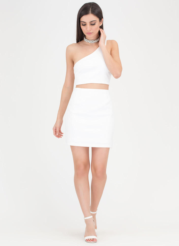 It Only Takes One-Shoulder Cut-Out Dress IVORY