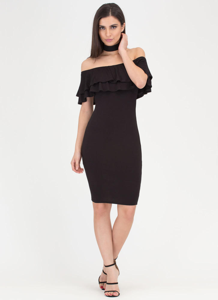 Double Duty Ruffled Off-Shoulder Dress