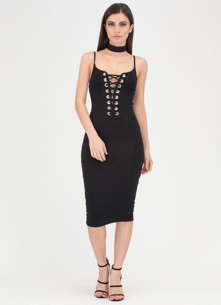 Never Too Late Lace-Up Midi Dress BLACK