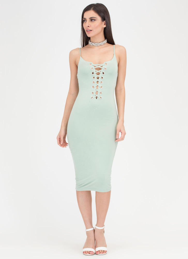 Never Too Late Lace-Up Midi Dress