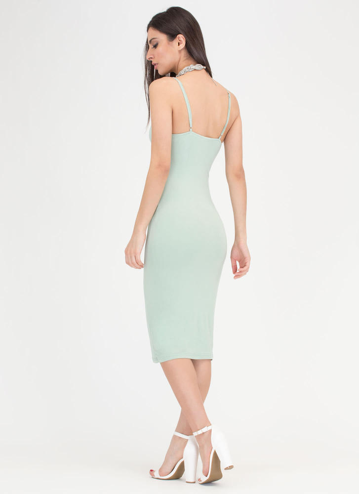 Never Too Late Lace-Up Midi Dress SAGE