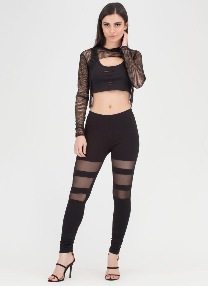 Caught In The Netted Cropped Hoodie BLACK