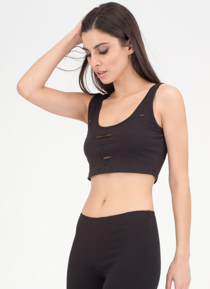 Slits All Good Cropped Tank Top BLACK