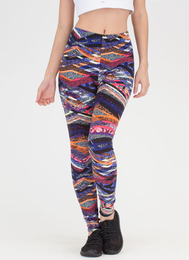 Spray Away Abstract Print Leggings MULTI