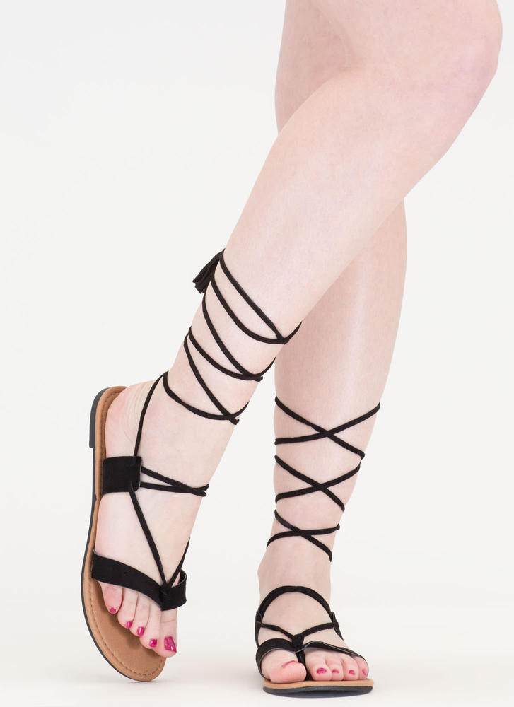 Two To Tassel Lace-Up Faux Suede Sandals BLACK