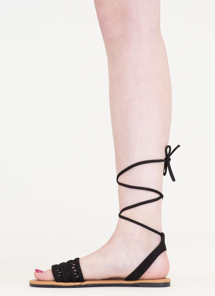 Braided Best Lace-Up Faux Suede Sandals BLACK