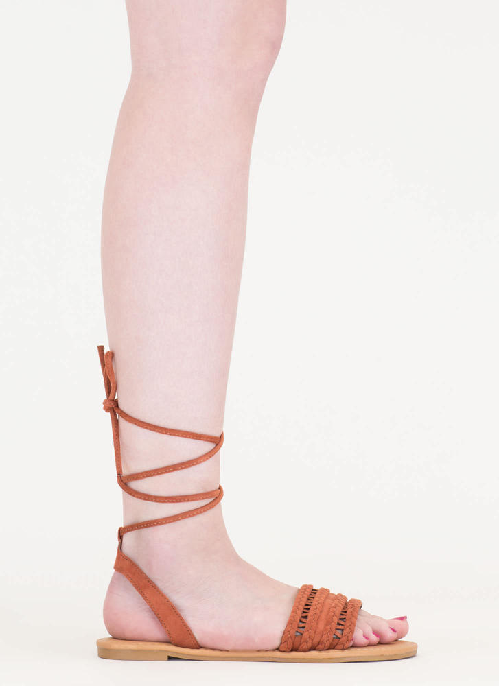 Braided Best Lace-Up Faux Suede Sandals RUST