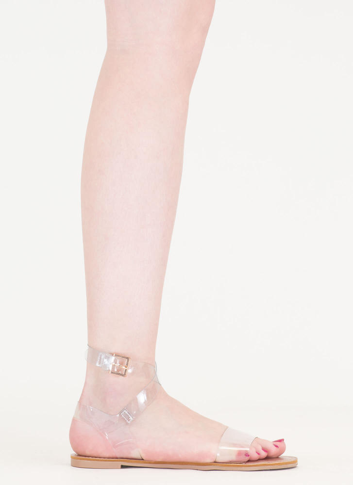You're So Transparent Strappy Sandals CLEAR