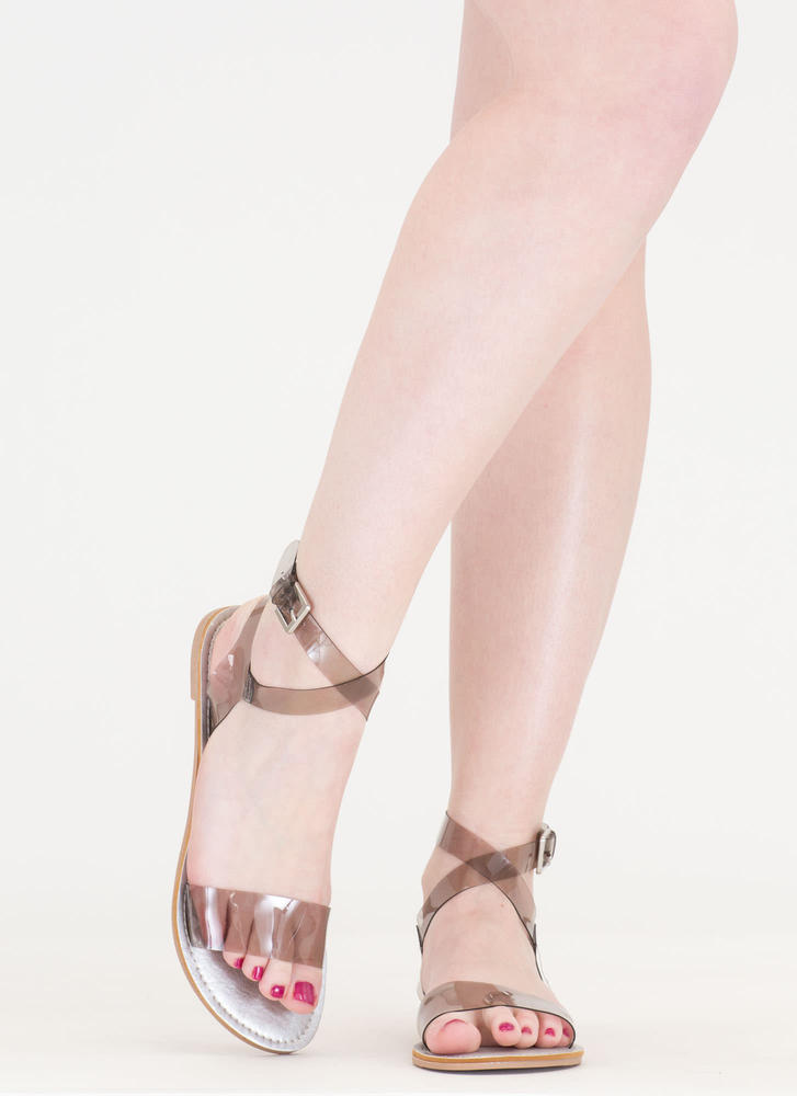 You're So Transparent Strappy Sandals GREYCLEAR