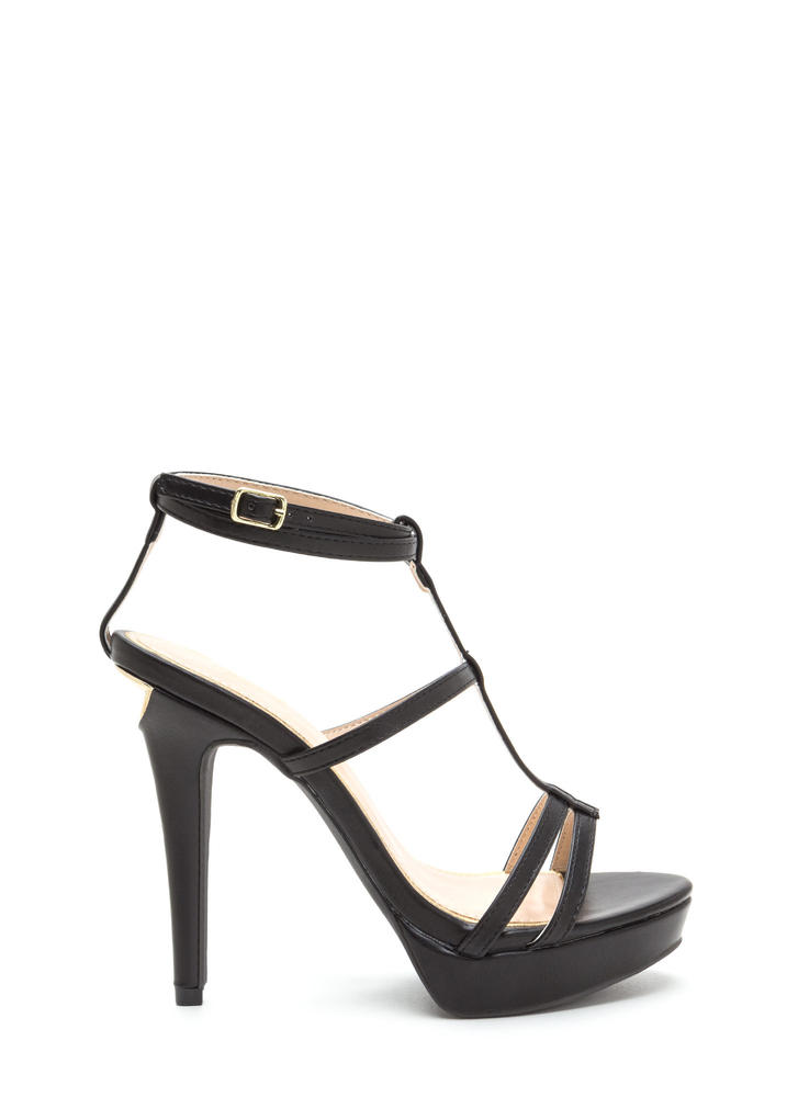 Take A Bite Strappy Faux Leather Heels