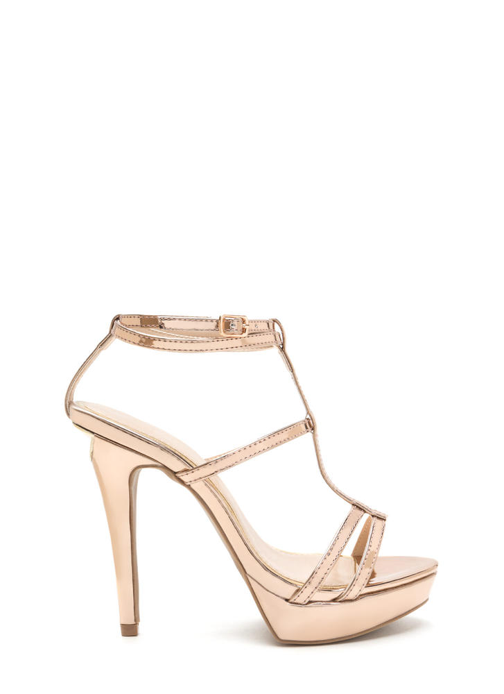 Take A Bite Strappy Faux Patent Heels ROSEGOLD