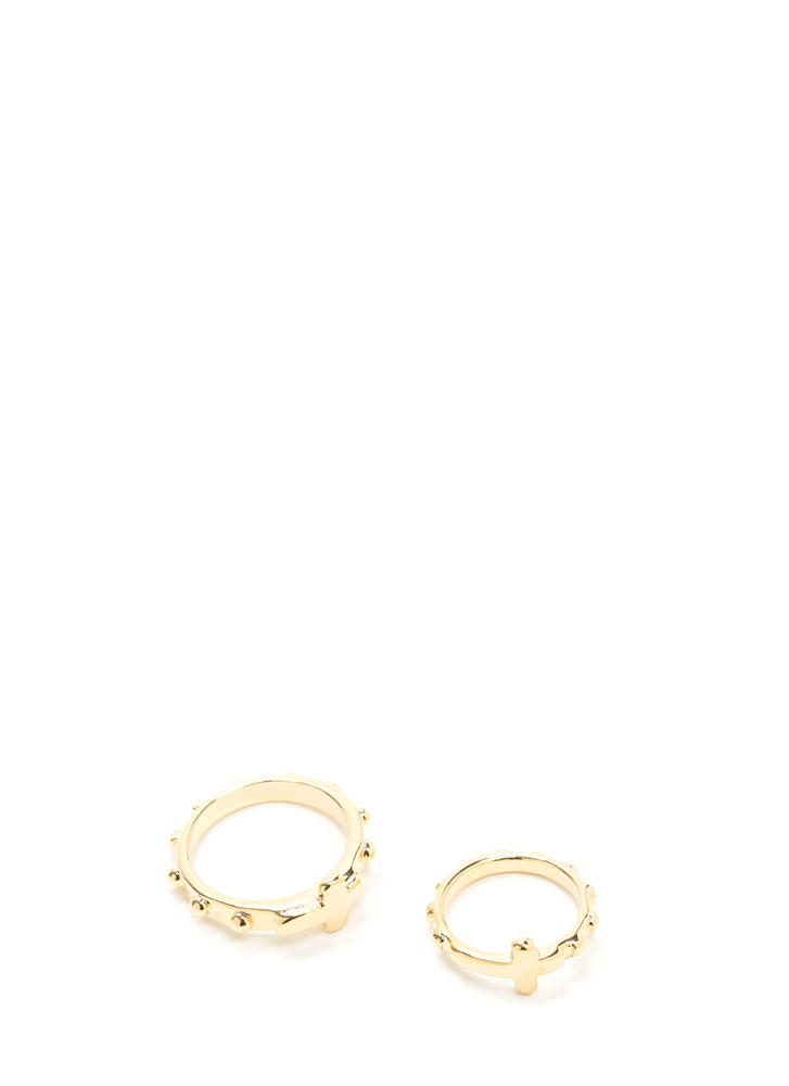 Double Crossed Studded Ring Duo
