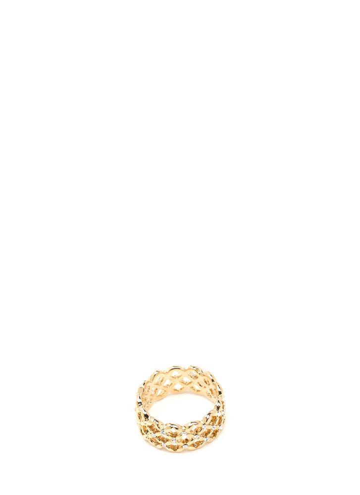 Caught In The Net Jeweled Latticed Ring GOLD