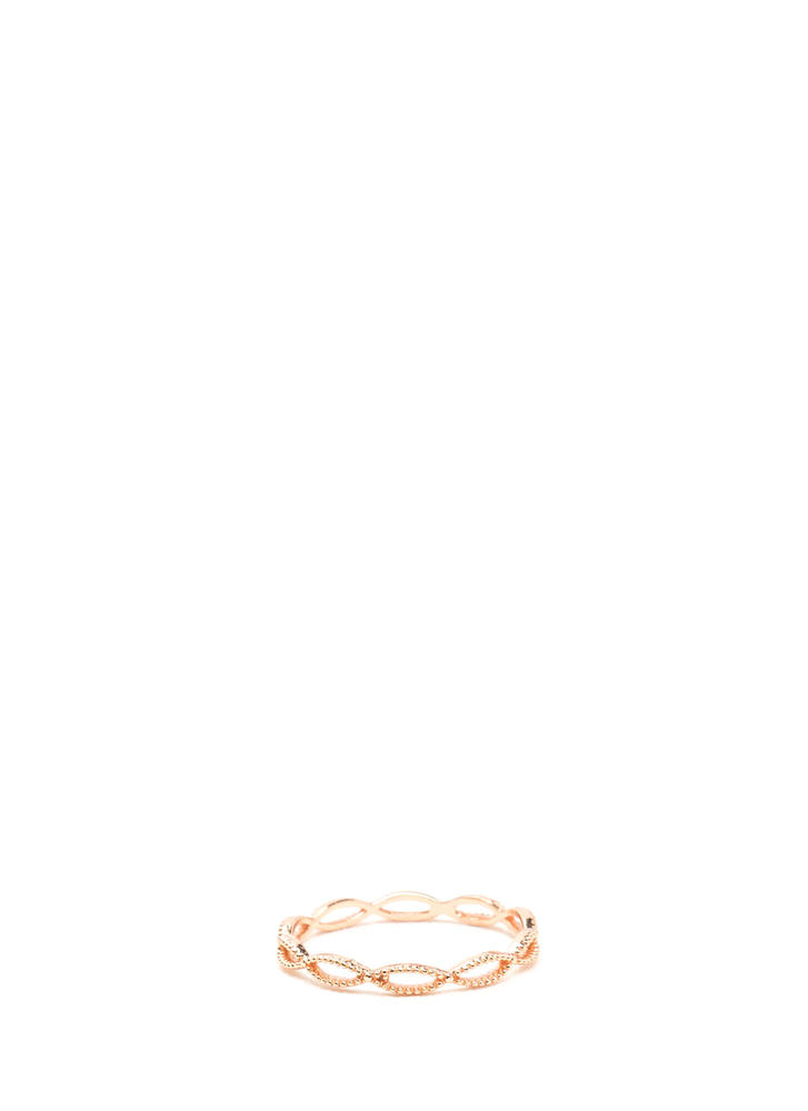 Do The Waves Studded Looped Ring ROSEGOLD