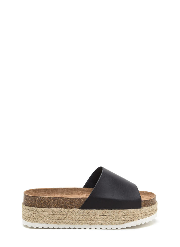 Chunky Side Espadrille Slide Sandals BLACK