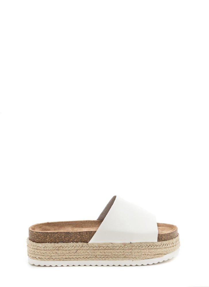 Chunky Side Espadrille Slide Sandals