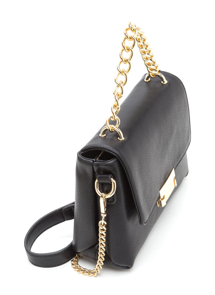 All About Those Chains Faux Leather Bag BLACK