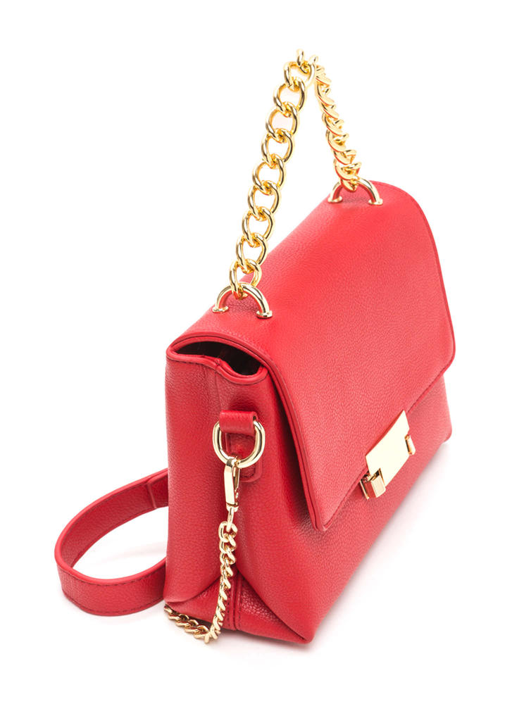 All About Those Chains Faux Leather Bag RED