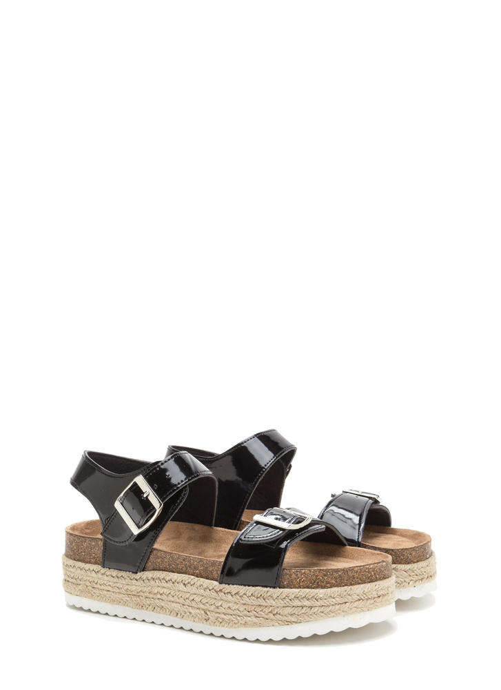 Chunky Side Strappy Espadrille Sandals BLACK