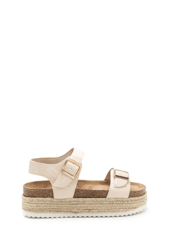 Chunky Side Strappy Espadrille Sandals NUDE