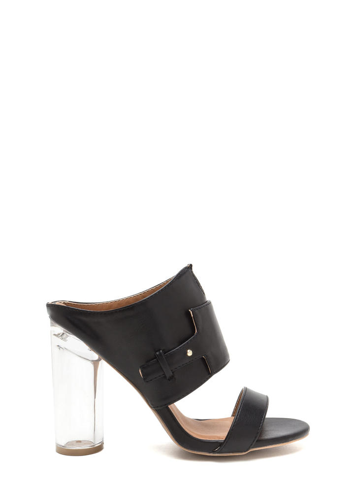 Tag You're It Lucite Heel Mules