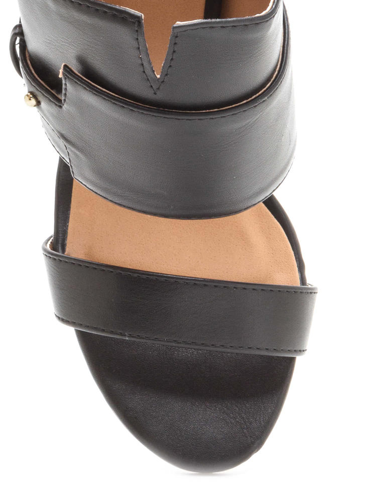 Tag You're It Lucite Heel Mules BLACK