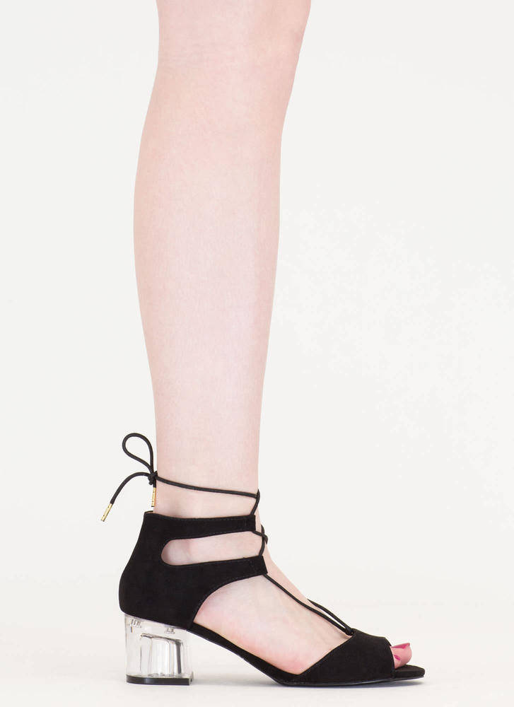 Clear As Day Lace-Up Block Heels BLACK