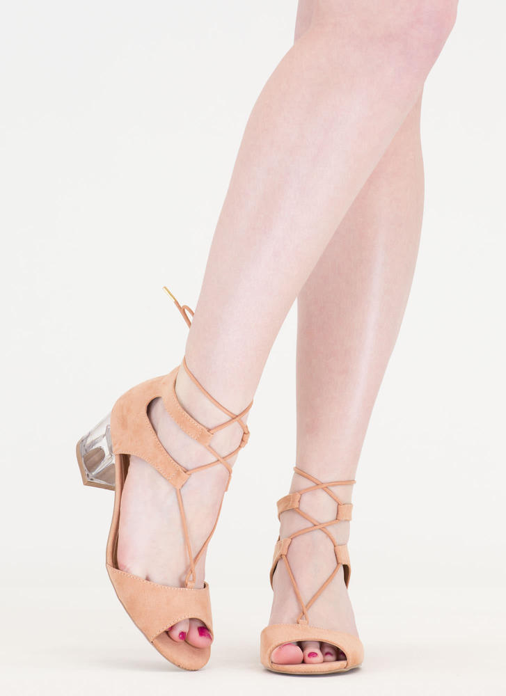 Clear As Day Lace-Up Block Heels BLUSH