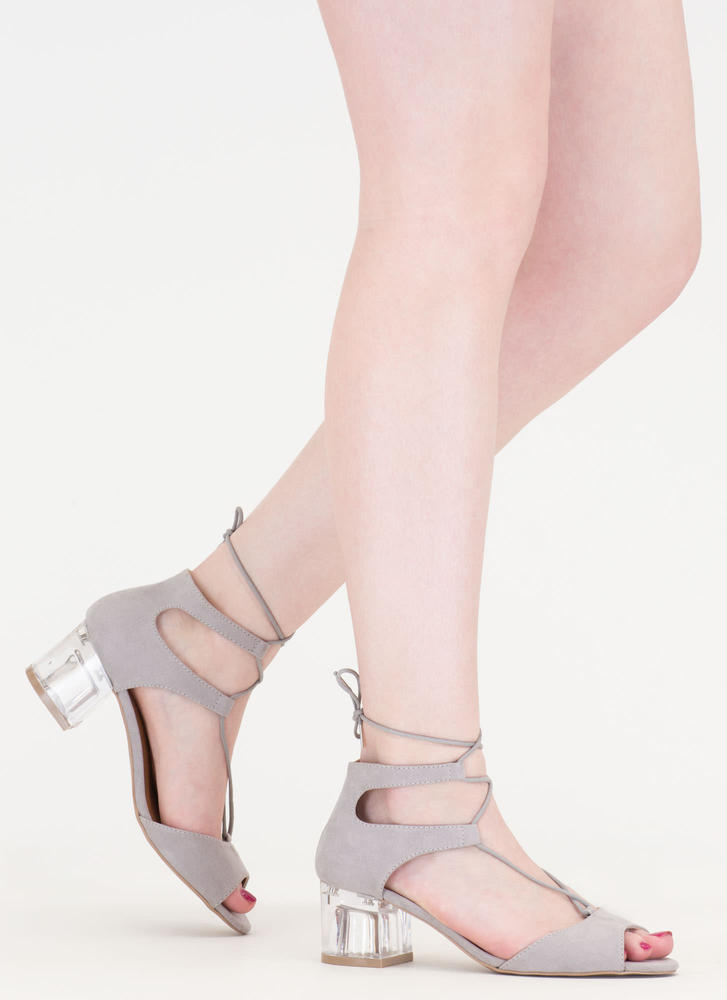 Clear As Day Lace-Up Block Heels LTGREY