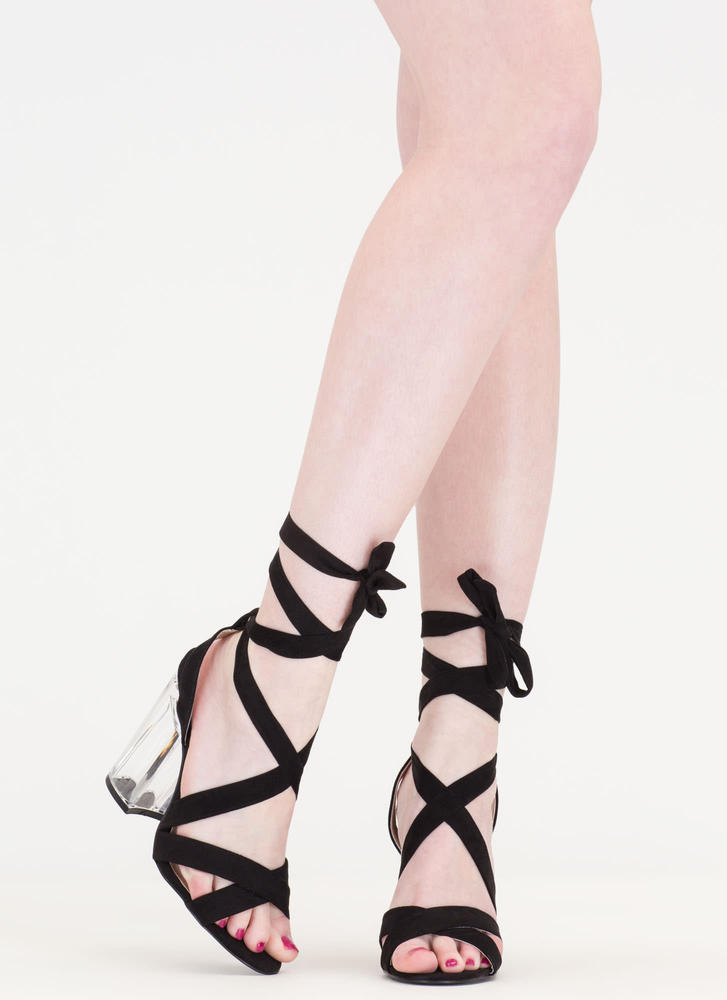 Go Clear Chunky Lace-Up Lucite Heels BLACK