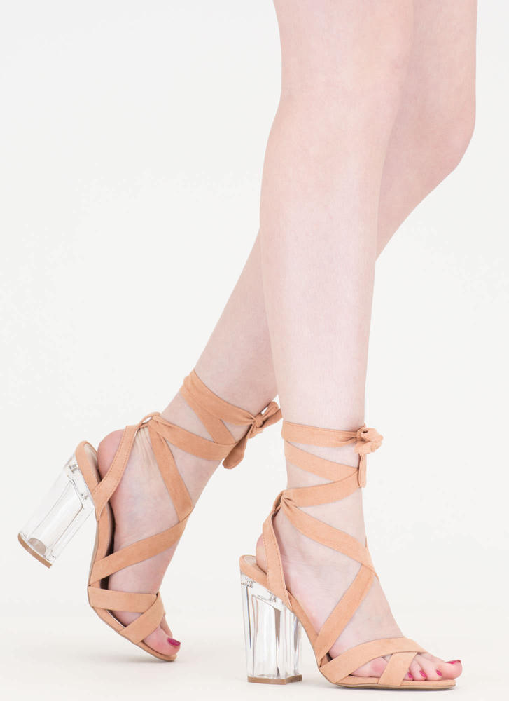 Go Clear Chunky Lace-Up Lucite Heels