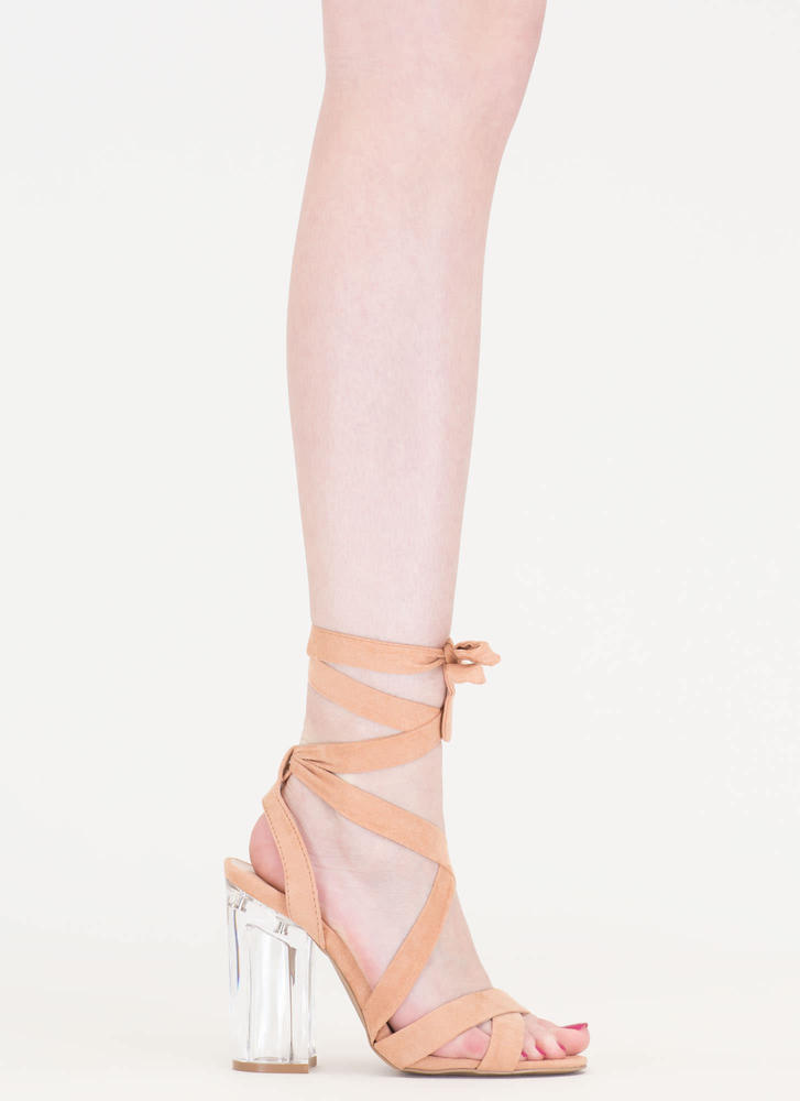 Go Clear Chunky Lace-Up Lucite Heels BLUSH