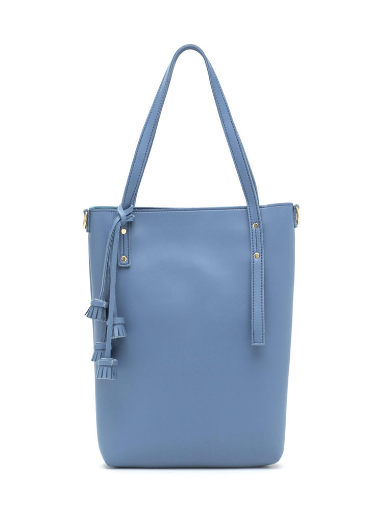 Day To Day Faux Leather Tote Set BLUE