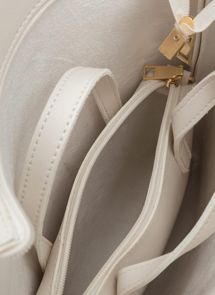 Day To Day Faux Leather Tote Set IVORY