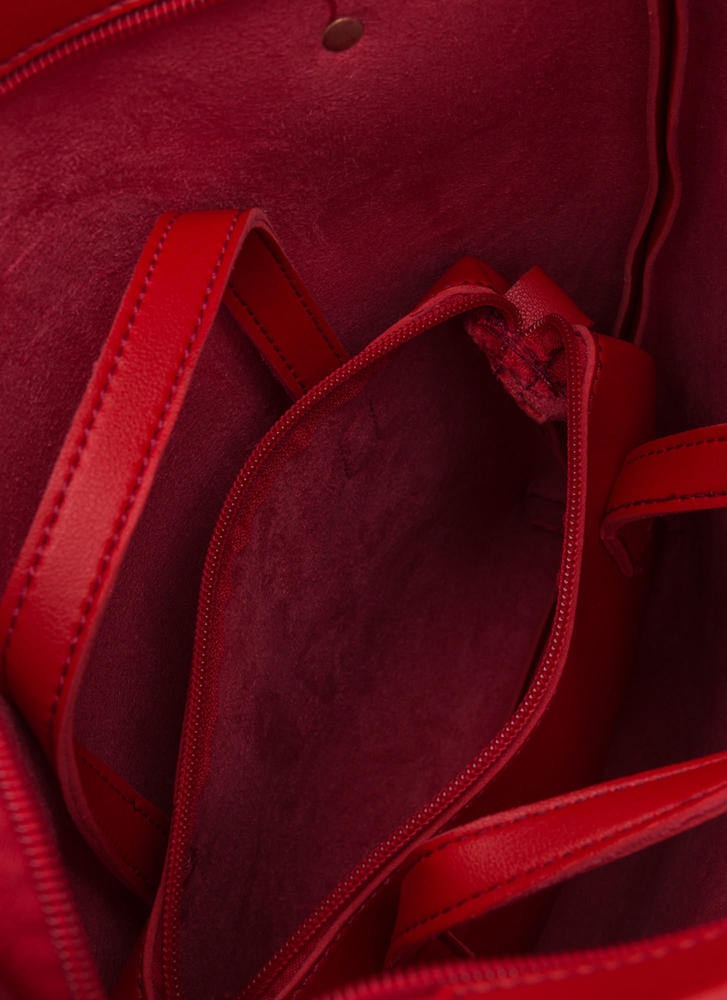 Day To Day Faux Leather Tote Set RED