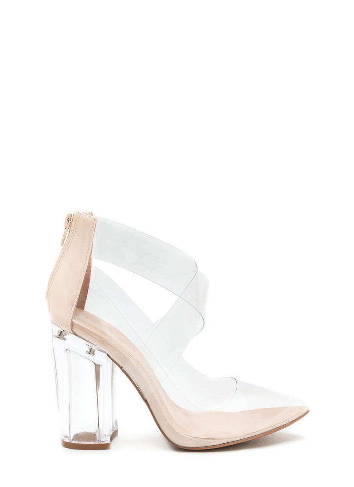 The Point Is Clear Chunky Lucite Heels
