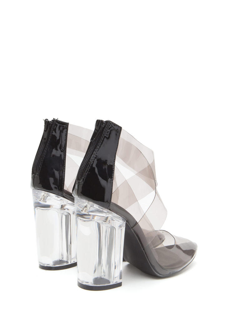 The Point Is Clear Chunky Lucite Heels GREYCLEAR