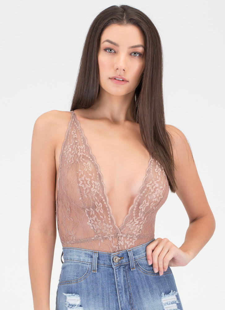 Lace Go Sheer Tied Bodysuit TAUPE (Final Sale)
